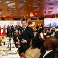 Amadou Gon Coulibaly, Premier ministre de Côte d'Ivoire, Brigitte Macron, Première dame de France, Alassane Ouattara, président de la République de Côte d'Ivoire, Dominique Ouattara, Première dame, Emmanuel Macron, président de la République française, Kandia Kamissoko Camara, ministre de l'Education de la Côte d'Ivoire, Didier Drogba et sa femme Diakité Lalla - Déplacement en Côte d'Ivoire - Dîner d'Etat offert par le président de la République de Côte d'Ivoire et sa femme en l'honneur du président de la République française et sa femme au Sofitel Hôtel Ivoire à Abidjan le 21 décembre 2019. © Dominique Jacovides / Bestimage