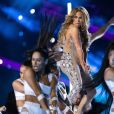 Jennifer Lopez en concert à la mi-temps du Super Bowl LIV (Pepsi Super Bowl LIV Halftime Show) au Hard Rock Stadium. Miami, le 2 février 2019.
