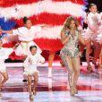 Jennifer Lopez et sa fille Emme en concert à la mi-temps du Super Bowl LIV (Pepsi Super Bowl LIV Halftime Show) au Hard Rock Stadium. Miami, le 2 février 2019.