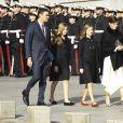 Le roi Felipe VI d'Espagne, la reine Letizia, la princesse Leonor des Asturies et l'infante Sofia arrivant au Congrès à Madrid le 3 février 2020 pour la cérémonie d'ouverture de la XIVe législature du Parlement espagnol.