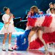 Emme, la fille de Jennifer Lopez sur scène pour le show lors de la mi-temps du 54 ème Super Bowl au Hard Rock Stadium à Miami le 2 février 2020.