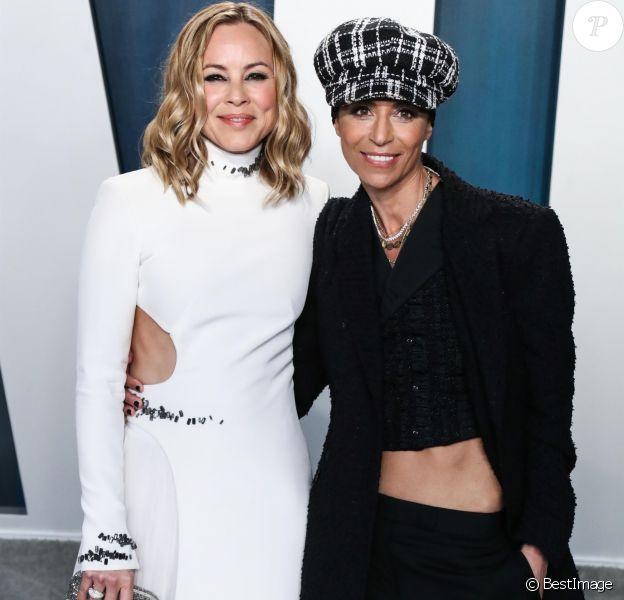 """Maria Bello et Dominique Crenn assistent à la soirée """"Vanity Fair Oscar Party"""" après la 92ème cérémonie des Oscars 2019 au Wallis Annenberg Center for the Performing Arts à Los Angeles, le 9 février 2020."""