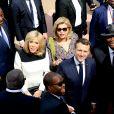 Alassane Ouattara, président de la République de Côte d'Ivoire, Dominique Ouattara, Première dame, Emmanuel Macron, président de la République française, Brigitte Macron, Première dame - Déplacement en Côte d'Ivoire - Arrivées à l'aéroport de Bouaké, le 22 décembre 2019. © Dominique Jacovides / Bestimage