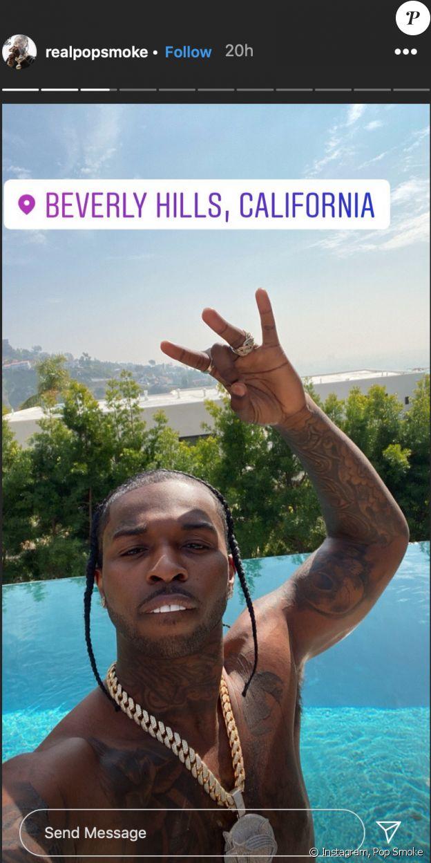 Sur sa dernière story Instagram, Pop Smoke montre la vue qu'offrait la villa qu'il louait, une maison appartenant à la star de télé-réalité Teddi Mellencamp située à Los Angeles. Février 2020.