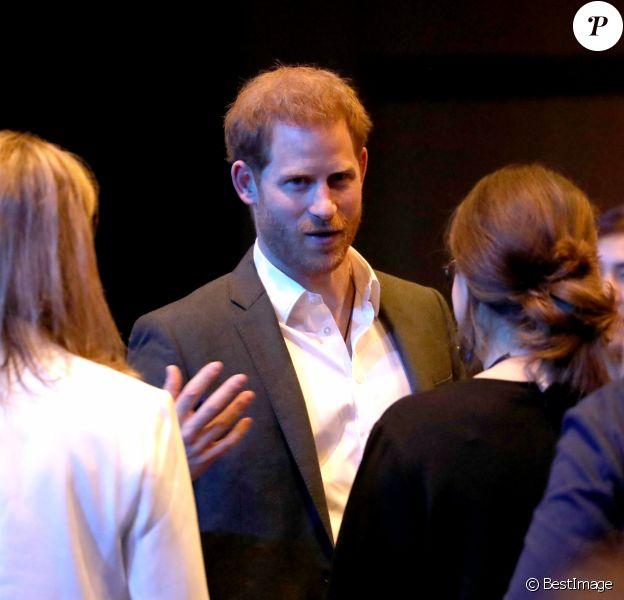 Le prince Harry, duc de Sussex, lors d'un sommet sur le tourisme durable au centre de conférences international d'Edimbourg, Ecosse, Royaume Uni, le 26 février 2020.