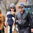 Exclusif - Première sortie en famille pour Laura Prepon et Ben foster avec leur nouveau-né à New York le 2 avril 2018.