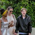 Exclusif - Angelina Jolie arrive à une fête d'anniversaire privée avec ses enfants Shiloh, Zahara et Pax Jolie-Pitt dans le quarrier de Brentwood à Los Angeles, le 2 septembre 2019.