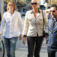 Brigitte Nielsen est allée déjeuner avec son mari Mattia Dessi et son fils Raoul Ayrton Meyer Jr. au restaurant Il Pastaio à Beverly Hills, le 22 février 2019.