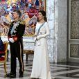 La reine Margrethe II de Danemark, le prince Frederik, la princesse Mary lors de la cérémonie de voeux pour les corps diplomatiques au château de Christiansborg à Copenhague le 2 janvier 2020.