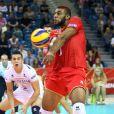 Earvin Ngapeth lors du match de volley-ball France - Iran aux championnats du monde de volley-ball. Cracovie, le 5 septembre 2014.