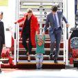 Justin Trudeau, sa femme Sophie Gregoire et leur fils Hadrien arrivent à l'aéroport de Hambourg le 6 juillet 2017. © Future-Image via ZUMA Press / Bestimage