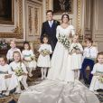 Jack Brooksbank, sa femme la princesse Eugénie d'York, le prince George de Cambridge, la princesse Charlotte de Cambridge, Miss Maud Windsor; Master Louis De Givenchy; Miss Theodora Williams; Miss Mia Tindall; Miss Isla Phillips; Miss Savannah Phillips - Photos officielles du mariage de la princesse Eugénie et Jack Brooksbank le 12 octobre 2018. © Alex Bramall / PA Wire / Bestimage