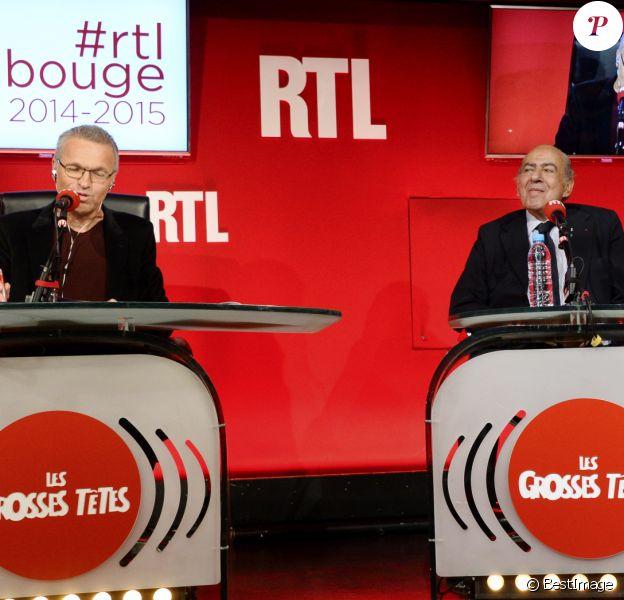 Laurent Ruquier, Pierre Benichou et Chantal Ladesou - Conférence de rentrée de RTL à Paris. Le 4 septembre 2014