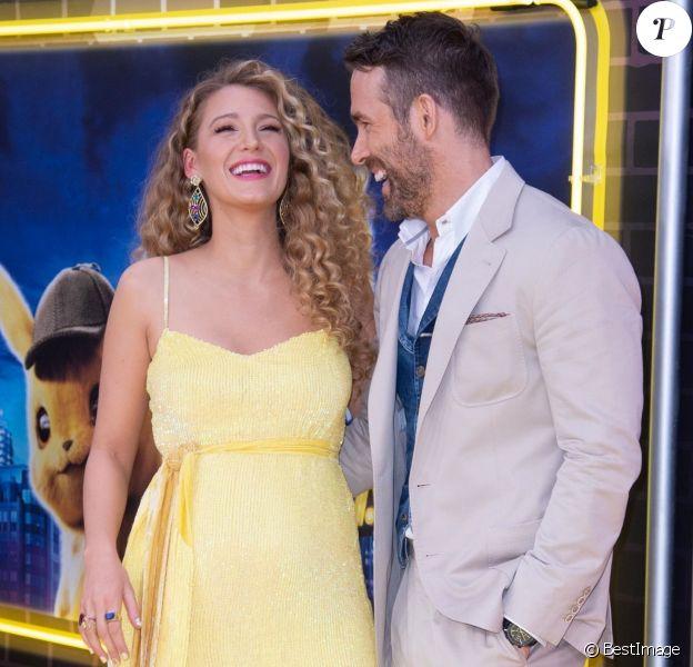 Blake Lively enceinte et son mari Ryan Reynolds à la première de Pokemon Detective Pikachu au Military Island sur Times Square à New York, le 2 mai 2019
