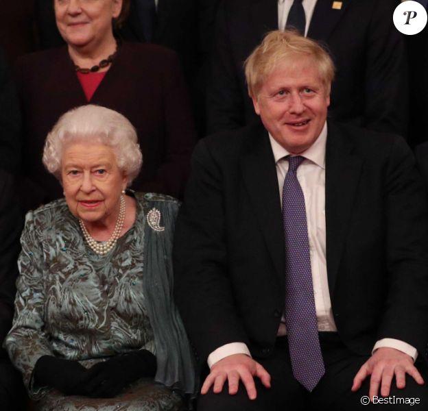 Le prince Charles, la reine Elisabeth II d'Angleterre, Boris Johnson, Justin Trudeau - La reine Elisabeth II d'Angleterre donne une réception à Buckingham Palace à l'occasion du Sommet de l'Otan à Londres, le 3 décembre 2019.