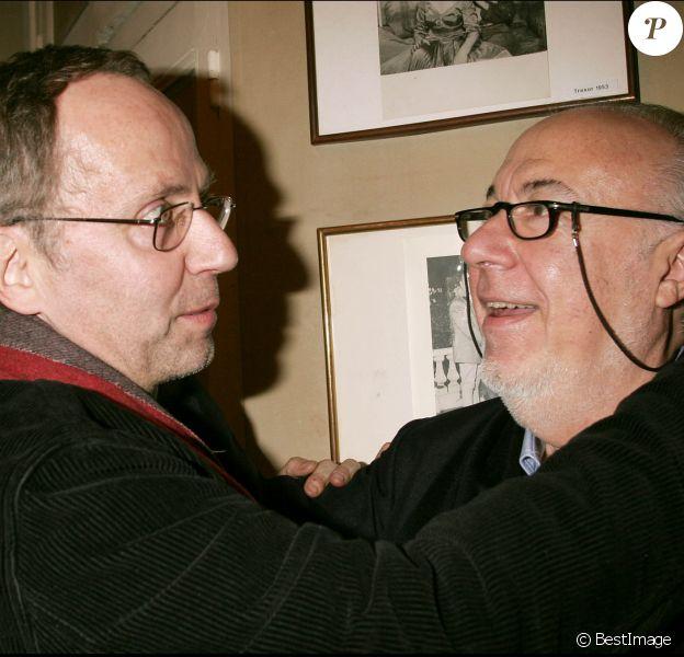 Jean-Laurent Cochet et Fabrice Luchini - Générale de la pièce Le veilleur de nuit, à Paris, en 2005