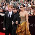 """Daniel Radcliffe, Rupert Grint et Emma Watson à la première du film """" Harry Potter et les reliques de la mort - 2ème partie """" à New York en 2011."""