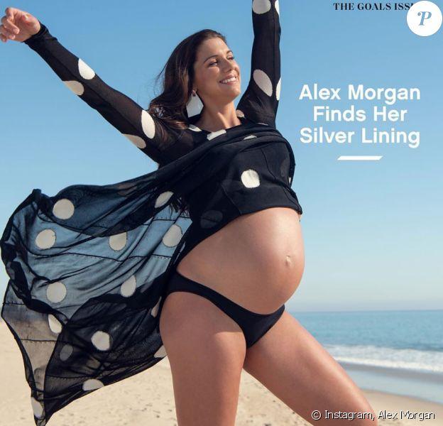Alex Morgan, enceinte en couverture du magazine Glamour. Mars 2020.