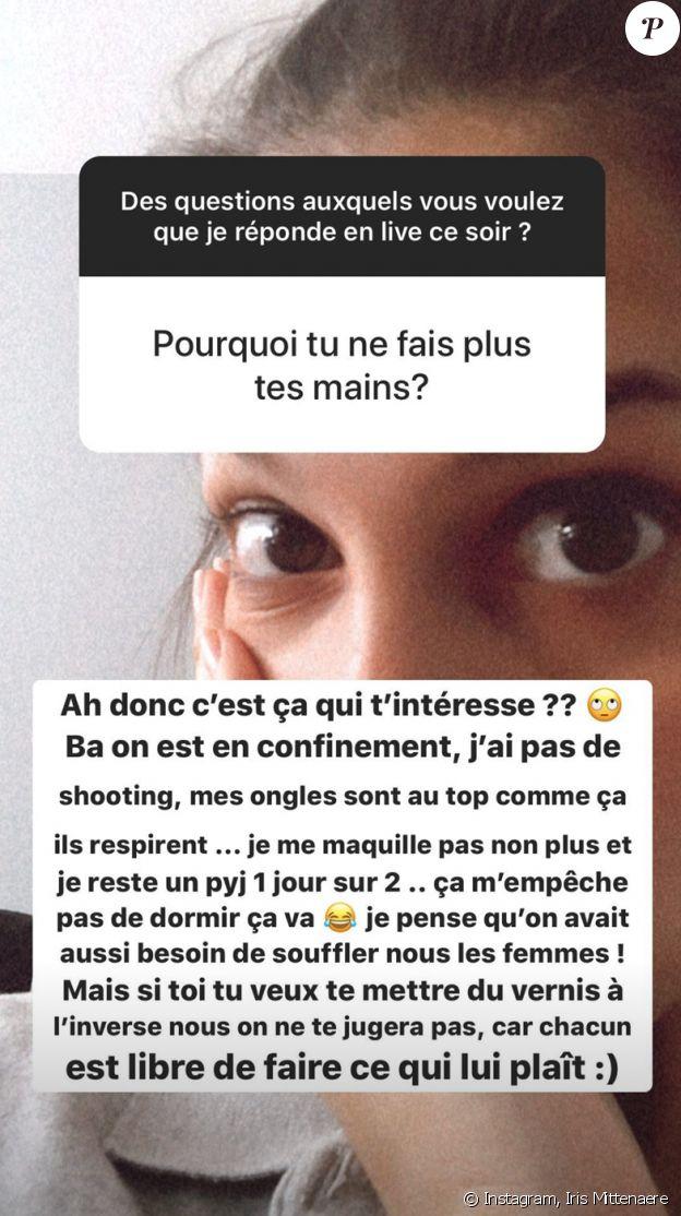 Pourquoi Iris Mittenaere ne se fait plus de manucure ? Elle répond à la question d'un follower sur Instagram, dans sa story du mercredi 15 avril 2020.