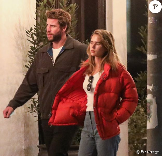 Exclusif - Liam Hemsworth sort dîner avec sa nouvelle compagne Gabriella Brooks à West Hollywood le 4 février 2020.