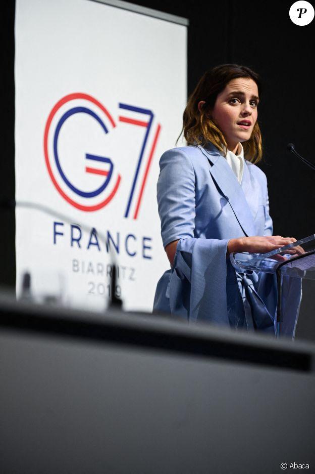 Emma Watson au sommet du G7 en France, le 10 mai 2019. La star était invitée à parler de l'égalité des genres.
