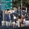 Le roi Felipe VI d'Espagne, la princesse Leonor, la reine Letizia, l'infante Sofia - Les membres de la famille royale d'Espagne se rendent à pied au théâtre du Canal à Madrid pour assister à un concert de flamenco contemporain le 19 juin 2020.