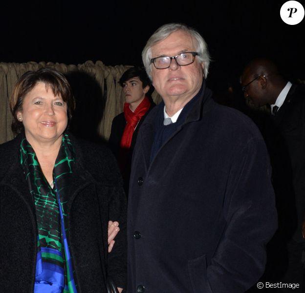 Martine Aubry et son mari Jean-Louis Brochen - Exclusif - Nuit de Chine au Grand Palais a Paris le 27 janvier 2014.