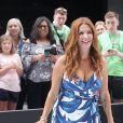 """Poppy Montgomery fait la promotion de sa série """"Reef Break"""" sur le plateau de l'émission """"Strahan and Sara"""" à New York, le 17 juin 2019."""