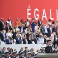 François Lecointre, d'État-Major des armées, le président Emmanuel Macron lors de la cérémonie du 14 juillet à Paris le 14 juillet 2020. © Eliot Blondet / Pool / Bestimage