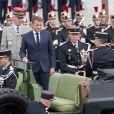 Le président Emmanuel Macron, François Lecointre, d'État-Major des armées lors de la cérémonie du 14 juillet à Paris le 14 juillet 2020. © Jacques Witt / Pool / Bestimage