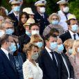 Christian Estrosi, le maire de Nice, et sa femme, Laura Tenoudji Estrosi durant le défilé militaire lors de la Cérémonie du 14 juillet à Nice, esplanade Jacques Cotta. © Bruno Bebert / Bestimage
