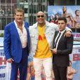 David Hasselhoff, Dwayne Johnson et Zac Efron - Photocall de 'Baywatch' au Sony Center à Berlin, le 30 mai 2017.