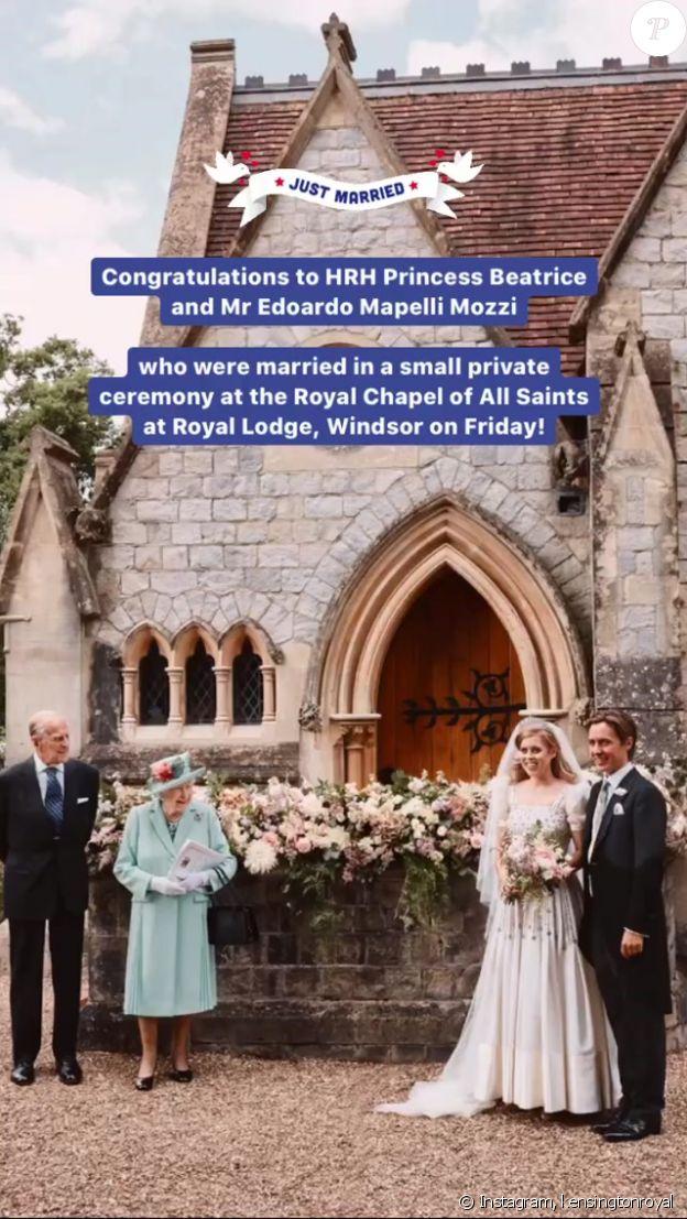 Les voeux de bonheur du prince William et Kate Middleton à la princesse Beatrice et Edoardo Mapelli Mozzi, suite à leur mariage célébré le 17 juillet 2020 à Windsor.