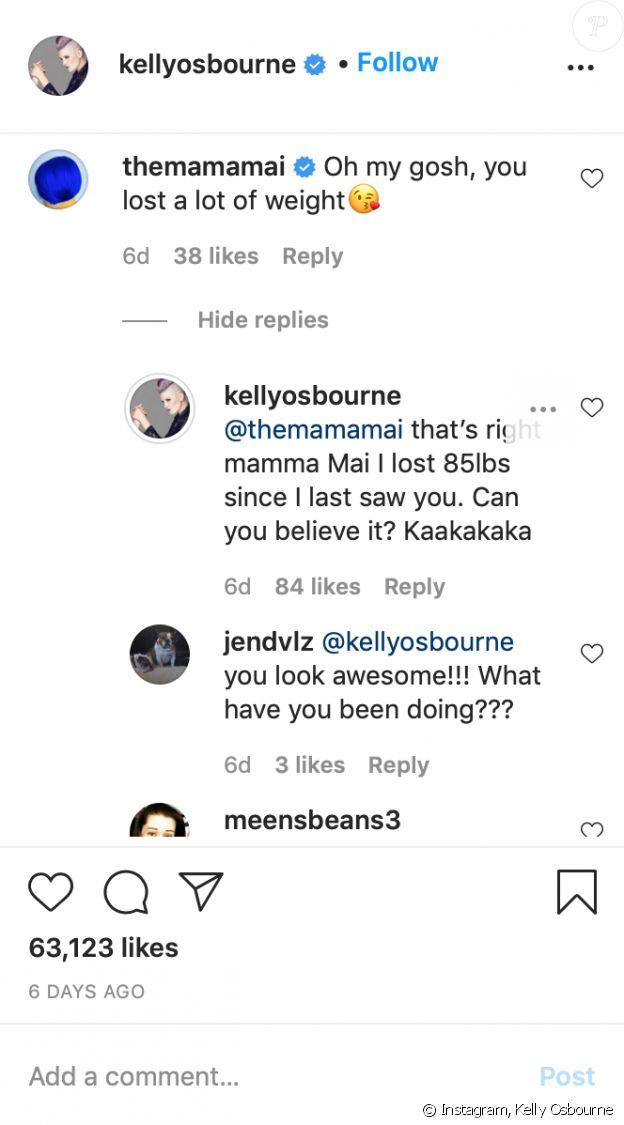 Kelly Osbourne révèle à son amie Mama Mai qu'elle a perdu près de 40 kilos. Août 2020.