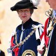 """La princesse Anne d'Angleterre - La famille royale d'Angleterre à l'occasion du service de """"l'Ordre de la Jarretière"""" au château de Windsor. Le 18 juin 2018"""