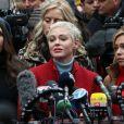 Les accusatrices d'Harvey Weinstein, Sarah Ann Masse, Paula Williams, Rose McGowan, Lauren Sivan en conférence de presse devant le tribunal de New York le 6 janvier 2020.