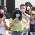 Exclusif - Rumer Willis se rend à la manifestation Juneteenth qui fait suite au mouvement Black Lives Matter à Los Angeles, le 19 juin 2020. Elle porte un masque pour se protéger de l'épidémie de Coronavirus (Covid-19).