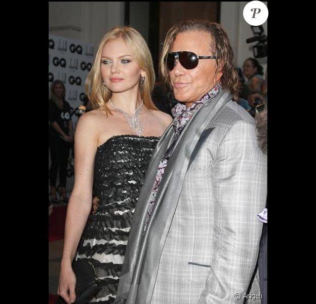 Mickey Rourke et Lena Kuletskaya à la soirée du magazine anglais GQ en septembre 2009