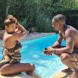 Black M et son épouse, Léa Djadja, enceine de leur deuxième enfant, sont en vacances à Antibes (Côte d'Azur), le mercedi 12 août 2020.