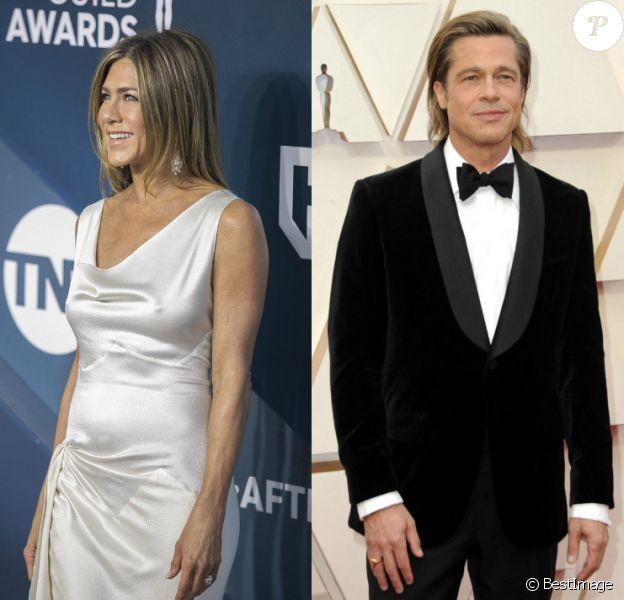"Jennifer Aniston aux ""Screen Actors Guild Awards"" 2020. Brad Pitt aux Oscars 2020."