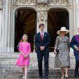 Le Roi Philippe de Belgique, la Reine Mathilde de Belgique et leurs enfants, le Prince Gabriel, la Princesse Eléonore, le Prince Emmanuel et la Princesse Elisabeth assistent au Te Deum à la Cathedrale des Saints Michel et Gudule , lors des célébrations de la fête nationale belge. Belgique, Bruxelles, 21 juillet 2020.