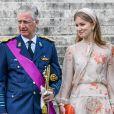 Le roi Philippe de Belgique, la reine Mathilde de Belgique et la princesse Elisabeth de Belgique - La famille royale de Belgique lors de la cérémonie du Te Deum à Bruxelles à l'occasion de la Fête Nationale belge. Le 21 juillet 2020