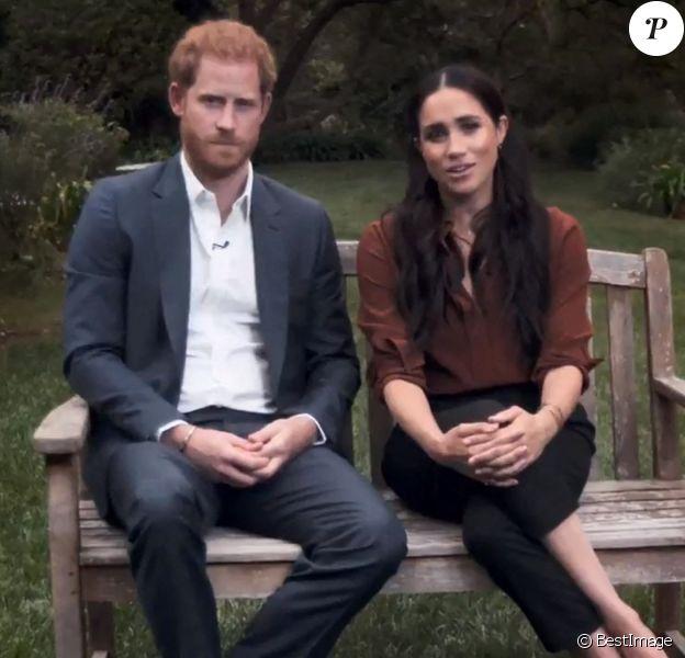 Le prince Harry, duc de Sussex, et Meghan Markle, duchesse de Sussex en pleine interview pour TIME 100 television ABC.