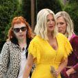 """Tori Spelling et Jennie Garth - Les acteurs de la série """"90210 Beverly Hills"""" ont été aperçus sur le tournage d'un nouveau film en hommage à Luke Perry à Vancouver au Canada, le 29 mai 2019."""