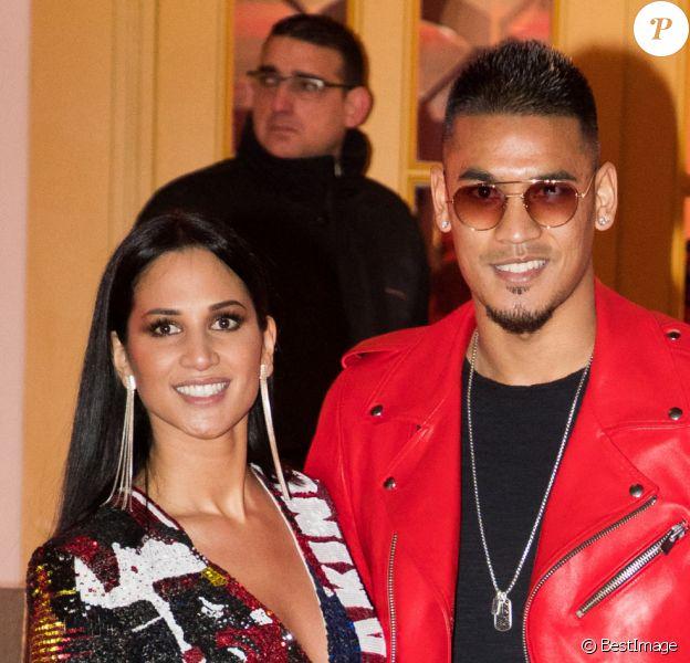 """Alphonse Areola (blouson en cuir rouge Anthony Delon réalisé spécialement pour l'évènement) et sa femme Marion à la soirée d'anniversaire """"Neymar JR'S: Nuit Rouge"""" des 27 ans de Neymar Jr. au Pavillon Gabriel à Paris, France."""