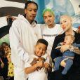 Amber Rose, son compagnon Alexander Richards, son ex-mari Wiz Khalifa, et leurs enfants Sebastian et Slash photographiés par Kevin Wong. Février 2020.