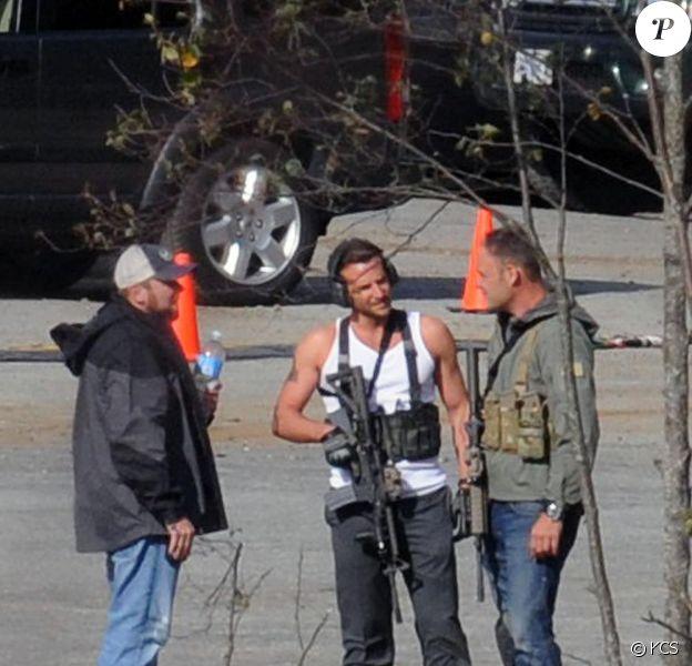 Les acteurs du film L'Agence tous risques en tournage le 30 septembre 2009 à Vancouver : ici Bradley Cooper en Futé