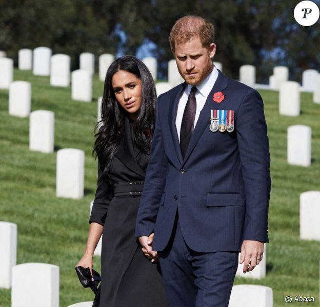 Le prince Harry et Meghan Markle lors d'une visite privée du cimetière national de Los Angeles, novembre 2020. Photo by Lee Morgan/PA Photos