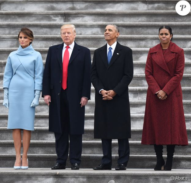 Donald Trump et Melania au Capitol avec Barack Obama et Michelle Obama à Washington.
