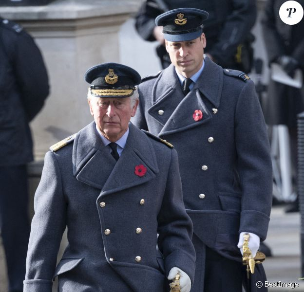 Le prince Charles, prince de Galles, le prince William, duc de Cambridge lors de la cérémonie de la journée du souvenir (Remembrance Day) à Londres.